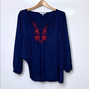 OLD NAVY Tunic Navy Burgundy Embroidery Detail Top